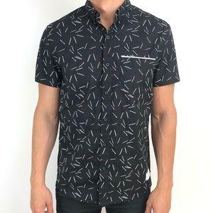 Adam Levine |Short sleeves black Button down shirt